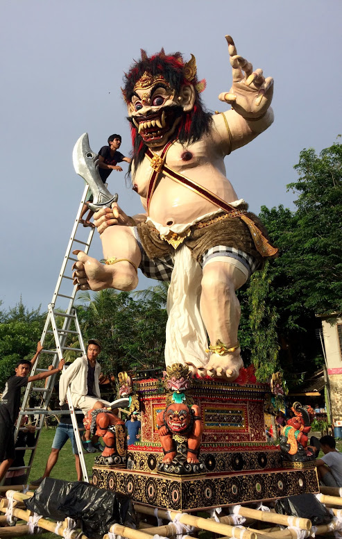 "Traditional Balinese ""Ogoh Ogoh"" statue in celebration of New Year's Eve."